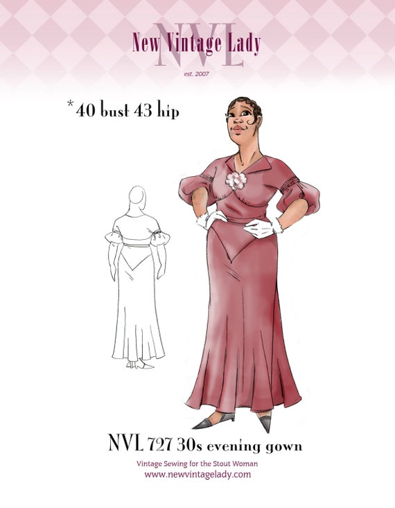1930s Dresses, Clothing & Patterns Links NVL 1930s The Diva Dress 40 bust PLUS SIZE $25.00 AT vintagedancer.com