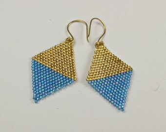 Turquoise and Gold Beadwoven Diamond Color Blocked Earrings