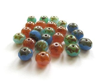 Milky Spring Mix Faceted Rondelle Glass Beads with Picasso Finish, 8mm x 6mm - 25 pieces