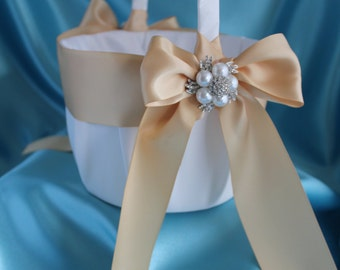 Large-White or Ivory Flower Girl Basket-Champagne Ribbons-Custom Ribbon Colors-Your Choice Brooch-Flower Girls Age 8+