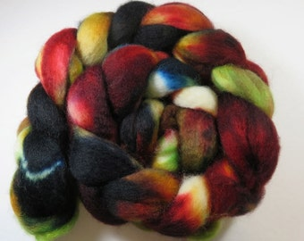 Hand Dyed Superwash BFL Blueface Leicester Combed Top, Spinning Fiber, Roving -- Autumn Embers (110 grams or 3.8 Ounces)