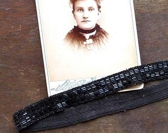 Antique Victorian Black Beadwork Headband or Choker