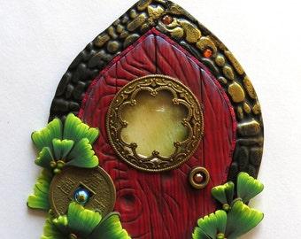 Zen Garden Fairy Door, Pixie Portal , Home and Garden Decor, Polymer Clay Door, Tooth Fairy Entrance