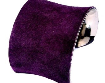 Suede Cuff Bracelet in Deep Purple - by UNEARTHED