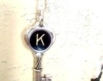 Letter K charm pendant typewriter key vintage necklace