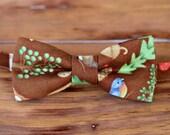 Men's Cotton Bow Tie - rustic outdoor brown mens bowtie - bowties for men - mens wedding bow tie - pre tied bowties - men's bow ties