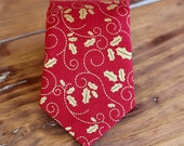 Boys red necktie - red gold holly Christmas necktie - infant baby toddler child preteen holiday ties - neckties gift - Christmas boy necktie