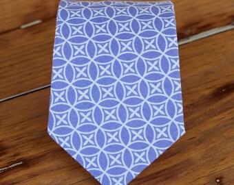 Boys Purple Necktie - purple white geometric print necktie, baby boys necktie, childs necktie, toddler necktie, boys wedding necktie, gift