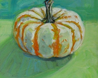 Pumpkin on Green original acrylic still life painting by Polly Jones