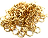 Heavy Raw Brass Round Jump Rings - 9mm - 30 grams (approx. 100x) (F527)