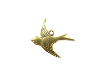 Antiqued Brass Sparrow Bird Charms - Left Facing (4X) (M823-E)