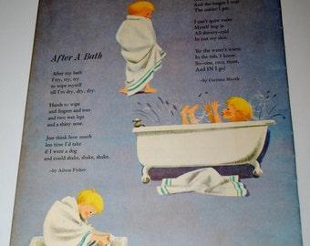 Original Vintage Illustration 1961 Children's Book Poems Colorful Wall Decor Ephemera Supplies