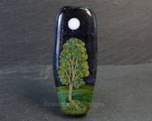 Starry Night Moon & Painterly Tree Pebble  - Handmade Lampwork Glass Focal Bead - Rowanberry SRA
