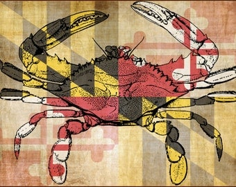Classic Chesapeake Blue Crab Overlaying the Maryland Flag, Custom Designed Linen and Cotton Tea-Towel