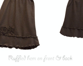 Floral Sweater Fleece Skirt with Double Ruffle Hem L/XL Handmade Flower