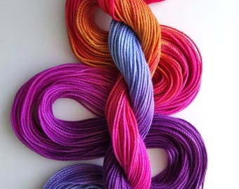 "Size 3 ""Brilliant Sunset"" hand dyed thread tatting crochet cotton"