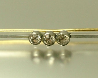 Vintage Art Deco 1940s chrome plated and paste/ rhinestone, bar brooch / pin - jewelry / jewellery