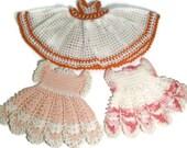 Three Crochet Dress Pot Holders Kitchen Decor
