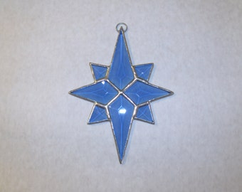 Blue Beveled Glass North Star Sun Catcher, Christmas Tree Ornament