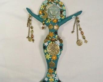 OOAK Mixed Metals Spirit Goddess cloth art doll 12 in. tall Fantasy
