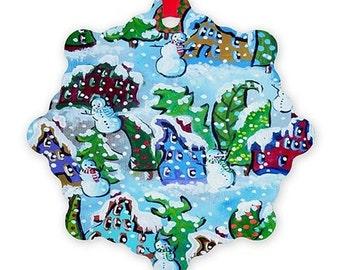 Whimsical Colorful Christmas Trees Snowmen Houses Folk Art Holiday Snowflake Aluminum Ornament