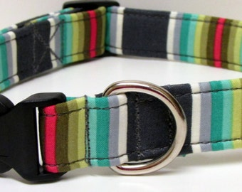 Chipper Tick Tock Stripe Green & Grey Handmade Dog Collar