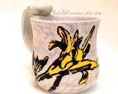 Ceramic Mug Yellow Daylily Flower on Iceberg Blue Kitchen Cup Stoneware Wheel Thrown Handmade 11 ounces Ready to Ship MG0011 Perfect for Mom