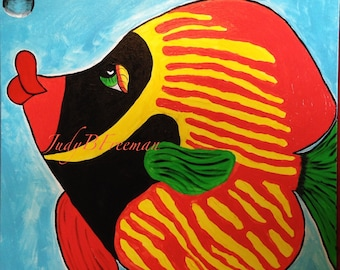 Fish Painting Whimsical Acrylic on 24 x 24 inch Canvas Butterflyfish Ready to Ship Home Decor Wall Art PTG005