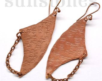 Rustic Copper Earrings E844