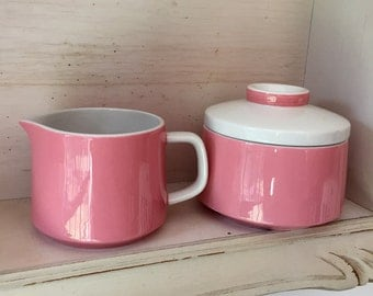 Gorgeous retro 1970s pink sugar bowl and milk jug set Japanese Mikasa Mediterrania