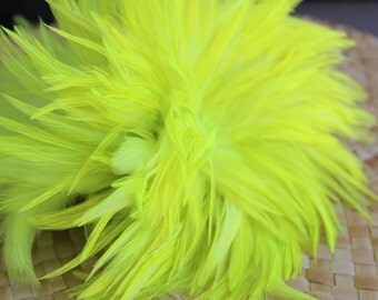 Strung  rooster saddle feathers, length 3-6 inches-colorflorescent  light green, lime green, rooster feathers, tahitian costumes, crafts