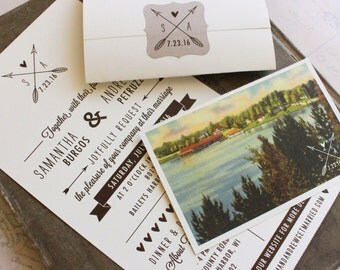 Rustic Seal and Send Wedding Invitation (Wisconsin) - Design Fee