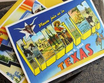Vintage Travel Postcard Wedding Invitation (Houston, Texas)
