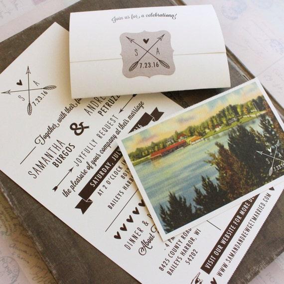 When Should Wedding Invites Be Sent: Rustic Seal And Send Wedding Invitation Wisconsin Design