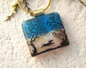 Dog Necklace, Dichroic Glass Jewelry, Dichroic Pendant, Glass Jewelry, Necklace Included, Dichroic Glass Jewelry, Park Necklace 011616p125