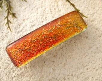 Small Golden Red Barrette, Small  Barrette, Fused Glass Barrette, Dichroic Barrette, French Barrette, Glass Barrette, Hair Clip, 050816ba103