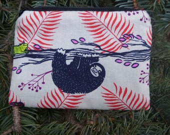 Sloth Coin Purse, credit card pouch, gift card pouch, stitch marker pouch, Pick Your Color, The Raven