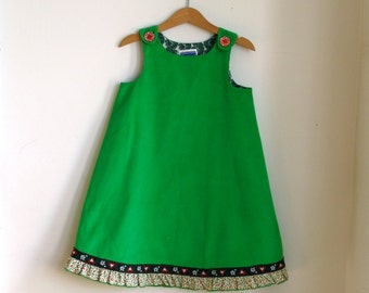 Green Corduroy Christmas Dress for Toddler Girls - size 4T - Holiday Dress Decorated with Jacquard Heart Ribbon & Holly Ruffle Trim