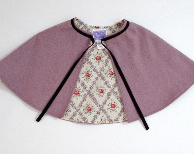 Newborn Cape, Girls Cape, Baby Cape, Purple Wool Newborn Capelet with Floral Lining, Baby Capelet, Cloak, Baby Shower Gift, Size Newborn