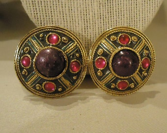 Large Vintage Clip Earrings with Green Pink and Purple Colors