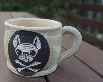 Stoneware Sgraffito French Bulldog Mug