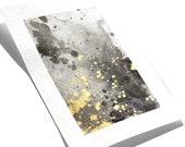 "Watercolor abstract Print with gold mica 5""x7"", wall art, home decor"