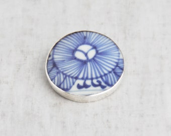 Vintage Pottery Shard Round Brooch - sterling silver framed blue and white ceramic pin