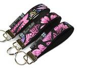 Key Fob Wristlet - Key Chain Wristlet  Fabric - Keyfob - Keychain - READY TO SHIP - Purple Passion Fabric