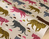 Japanese Fabric Big Cats - pink, green, blue - 50cm