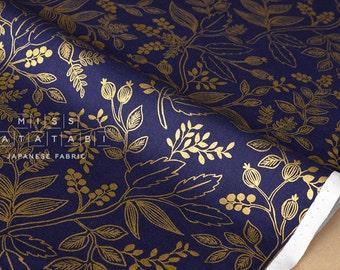Cotton + Steel Les Fleurs - Queen Anne - navy metallic - 50cm