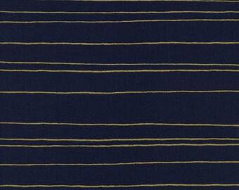 Cotton + Steel Fruit Dots metallic - gold stripes navy - fat quarter