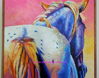 "Original Appaloosa Horse Rear 18""x18"" oil painting in blue and pink"