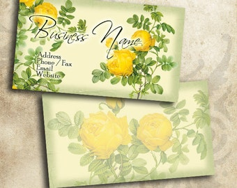 Beautiful Yellow Roses Flower Business Card Template INSTANT DOWNLOAD 3.5 x 2 Inches Calling Card Vintage Flowers (BC5)