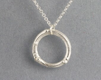 Twig Circle Necklace - Sterling Silver Branch Jewelry - Twig Nature Pendant - Natural Organic - Small Single Circle Necklace - READY TO SHIP